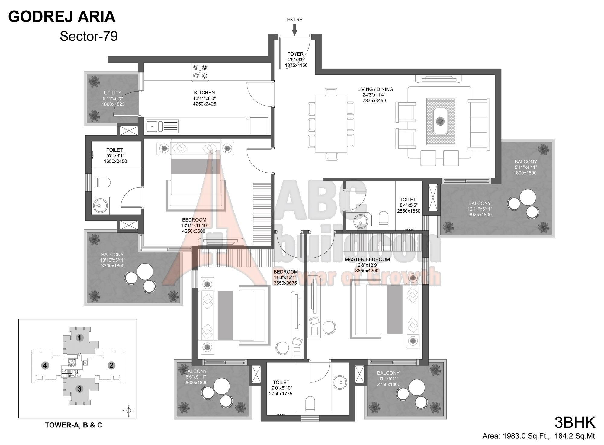 Godrej aria sector 79 gurgaon abc buildcon for Landcraft homes floor plans