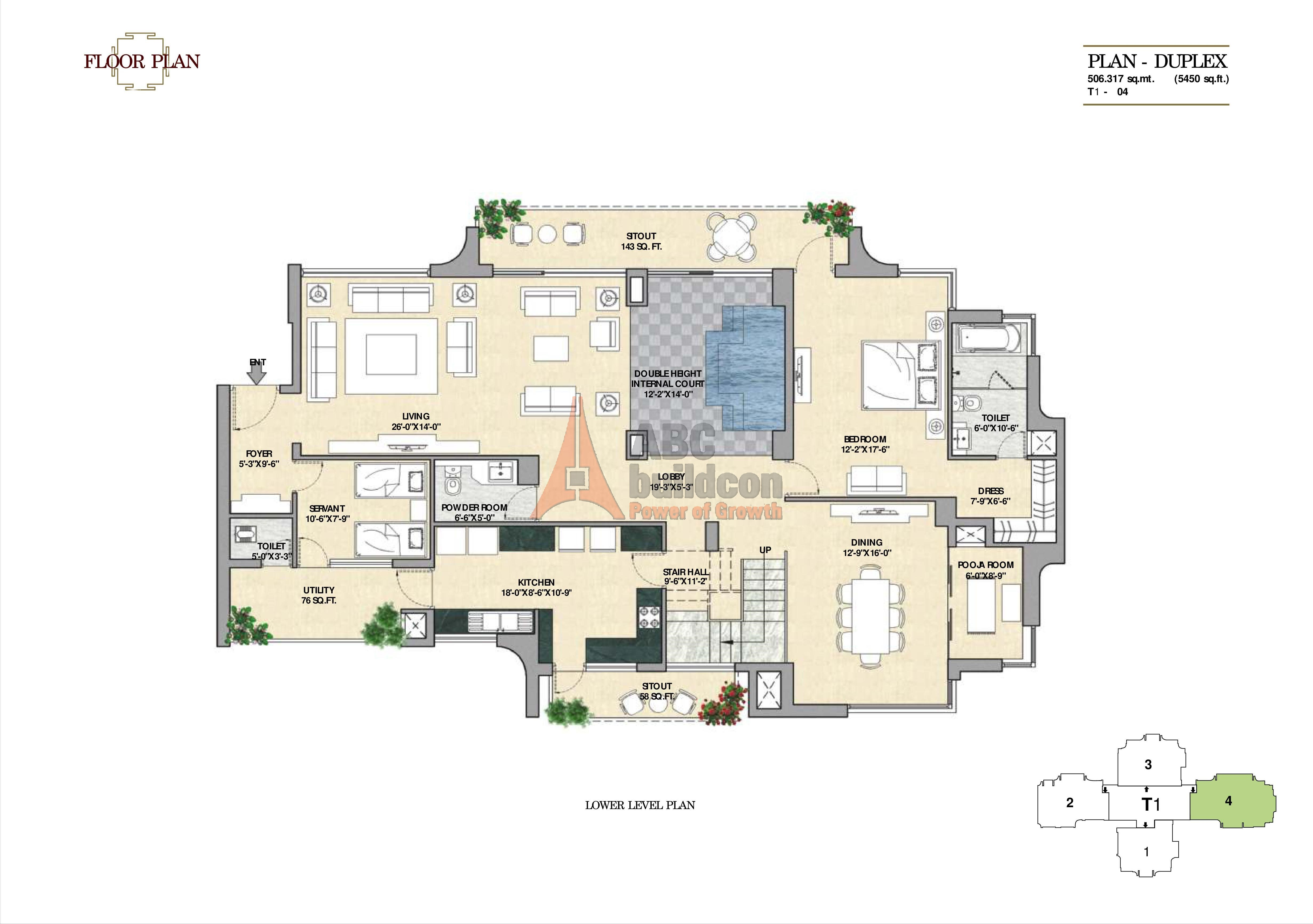Vipul aarohan sector 53 golf course road gurgaon for 5 bhk duplex floor plan
