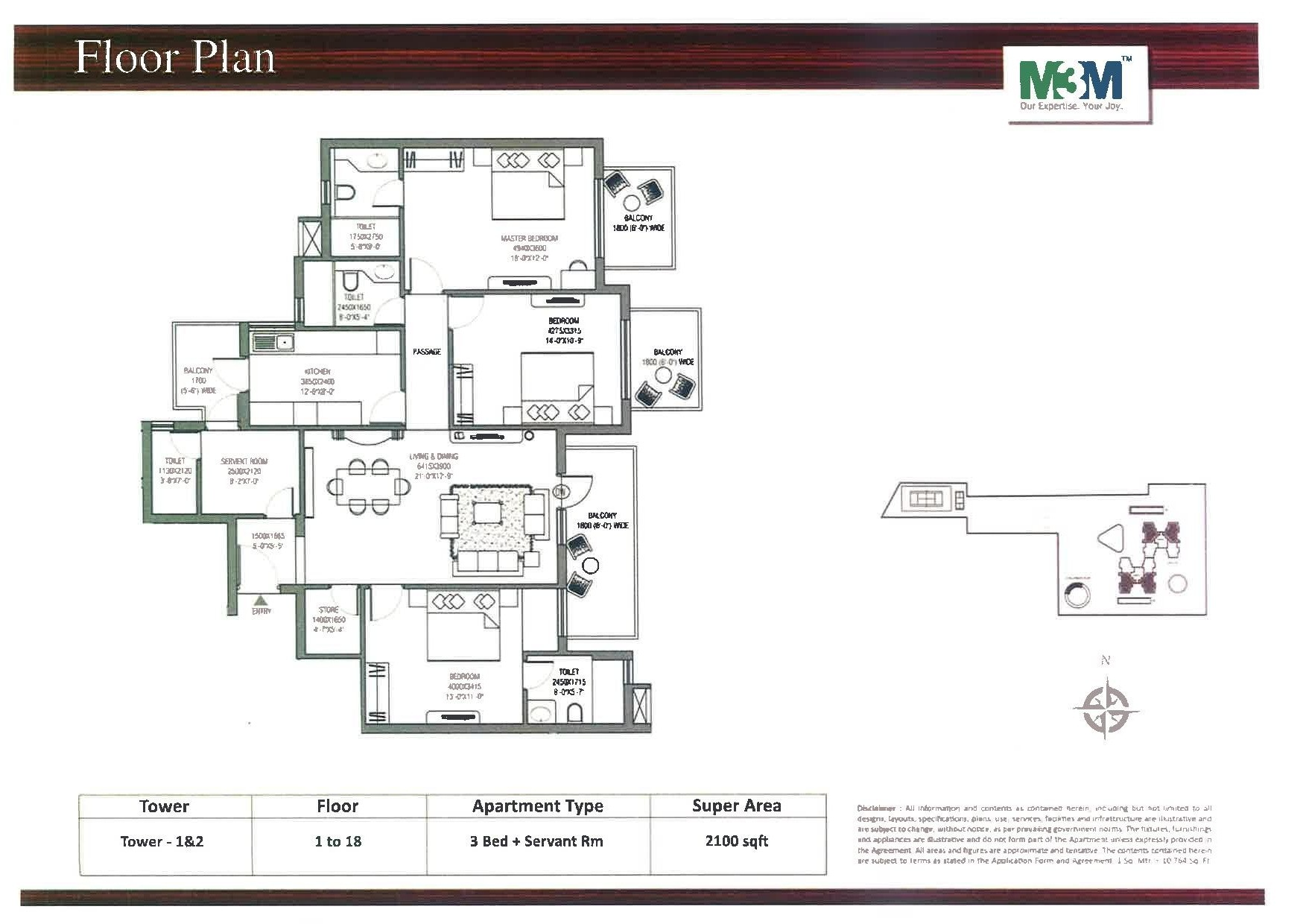 M3m escala sector 70a gurgaon for Landcraft homes floor plans